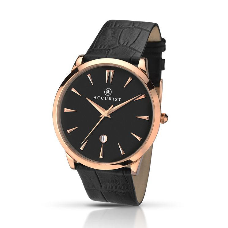 Accurist Men's Rose Gold Plate & Black Leather Strap Watch - Product number 2920565