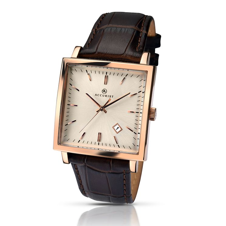 Accurist Men's Rose Gold Plated Square Dial Leather Watch - Product number 2920573