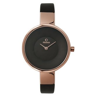 Obaku Ladies' Rose Gold Plate & Brown Leather Strap Watch - Product number 2925079