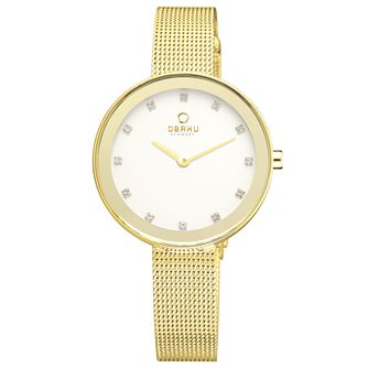 Obaku Ladies' Stone Set Yellow Plated Gold Mesh Watch - Product number 2925494