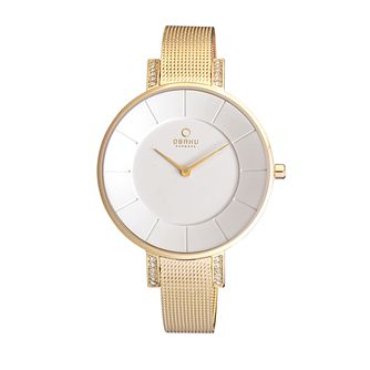 Obaku Ladies' Stone Set Yellow Gold Plated Mesh Watch - Product number 2925508