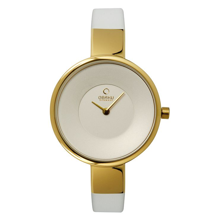 Obaku Ladies' Yellow Gold Plated & White Leather Watch - Product number 2925923