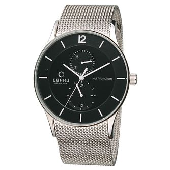 Obaku Men's Black Dial &Stainless Steel Mesh Bracelet Watch - Product number 2926199