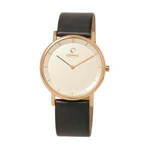 Obaku Men's Rose Gold Plate & Black Leather Strap Watch - Product number 2926385