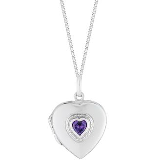 Sterling Silver Amethyst Heart Locket - Product number 2932083