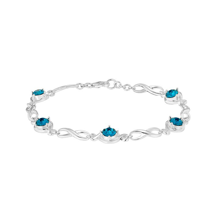 Sterling Silver & Teal Crystal Infinity Bracelet - Product number 2932652