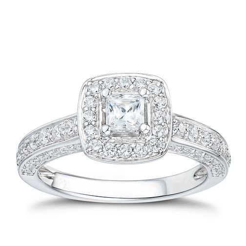 Tolkowsky 18ct White Gold 1ct Princess Cut Ring - Product number 2937700