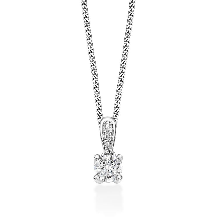 18ct white gold 0.35ct round cut diamond drop pendant - Product number 2939193