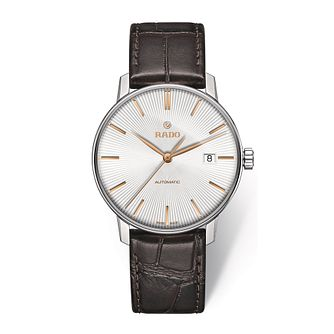 Rado men's stainless steel brown leather strap watch - Product number 2943948