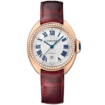 Cartier Clé ladies' 18ct rose gold red leather strap watch - Product number 2948907