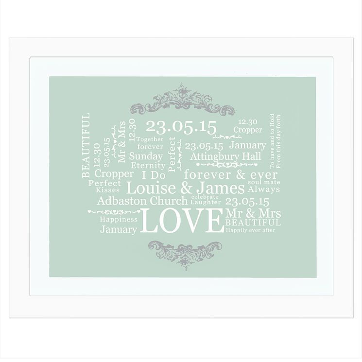 Personalised Wedding Typographic Art Poster White Frame - Product number 2949644