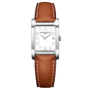 Baume & Mercier Hampton ladies' brown leather strap watch - Product number 2951398