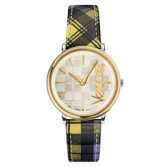 Versace V Circle Yellow/Purple Tartan Leather Strap Watch - Product number 2951886