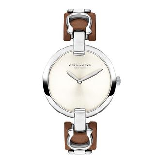 Coach Chrystie Ladies' Brown Leather & Link Strap Watch - Product number 2952874