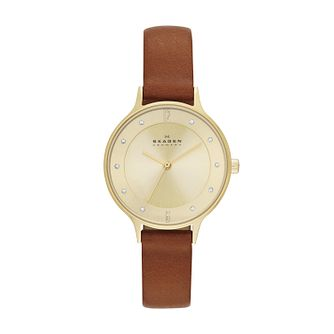 Skagen Anita Ladies' Gold Tone Brown Leather Strap Watch - Product number 2959003