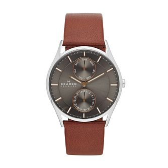Skagen Holst Men's Stainless Steel Red Leather Strap Watch - Product number 2959054