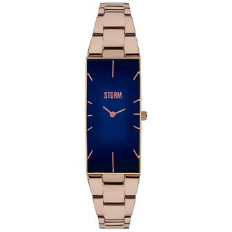 Storm Ladies' Ixia Rose Gold Plated Blue Dial Slim Watch - Product number 2961806