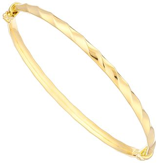 9ct Yellow Gold Twist Polished Hinged Bangle - Product number 2963191