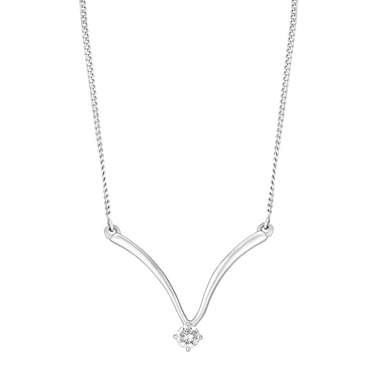 Sterling Silver & Cubic Zirconia Wishbone Necklace - Product number 2963264