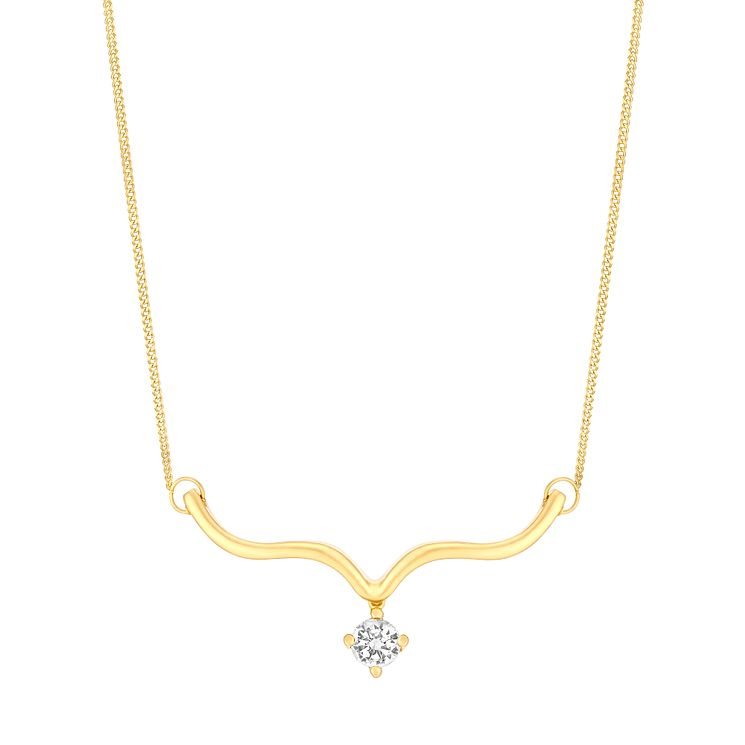 9ct Yellow Gold & Cubic Zirconia Wishbone Necklace - Product number 2963353