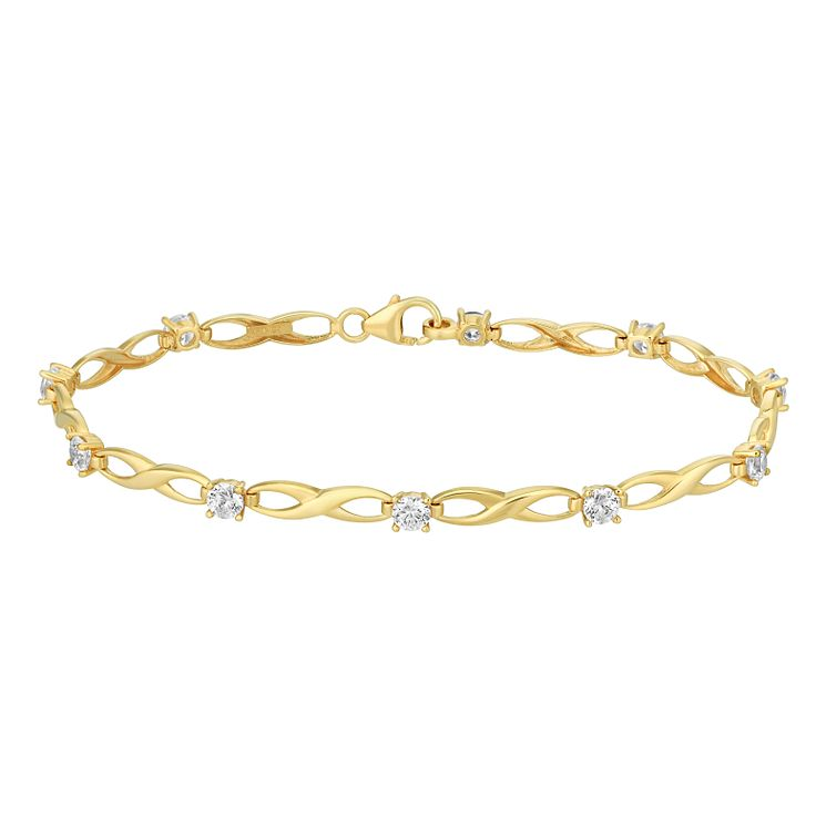 9ct Yellow Gold & Cubic Zirconia Infinity Bracelet - Product number 2967251