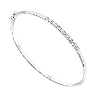 9ct White Gold Channel Set Cubic Zirconia Bangle - Product number 2967839