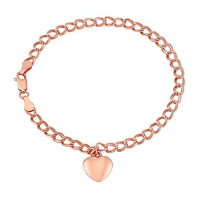 9ct Rose Gold Double Curb Chain Heart Charm Bracelet - Product number 2968312