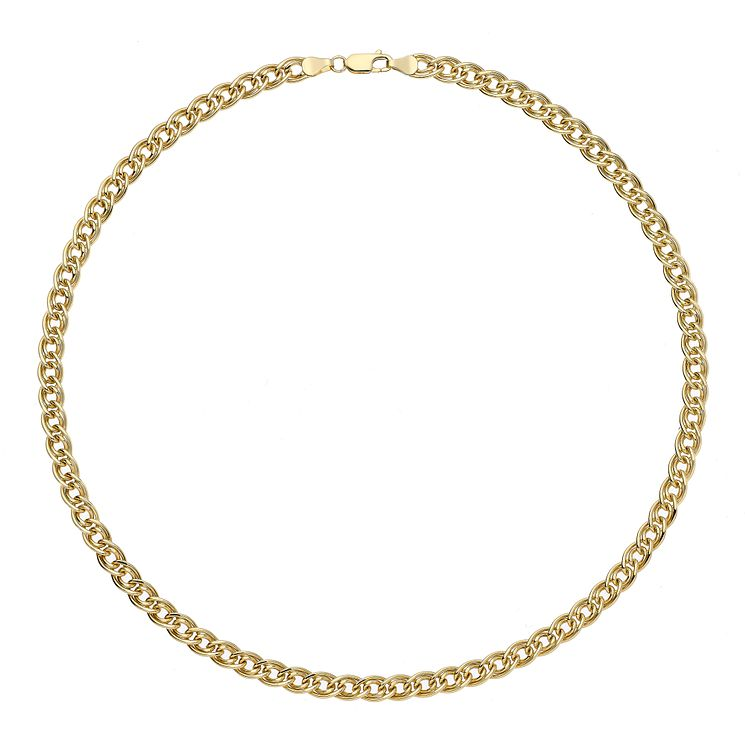 "Together Bonded Silver & 9ct Gold 18"" Double Curb Chain - Product number 2968738"