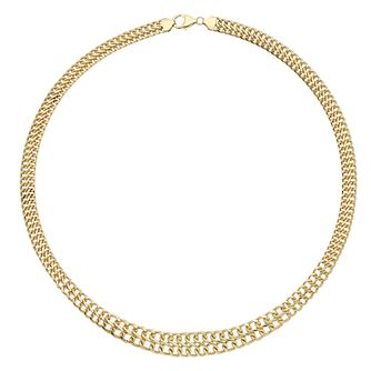 "Together Bonded Silver & 9ct Gold 18"" Graduated Curb Chain - Product number 2968800"