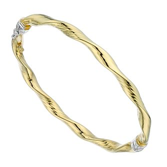 Together Silver & 9ct Yellow Gold Twist Bangle - Product number 2968819
