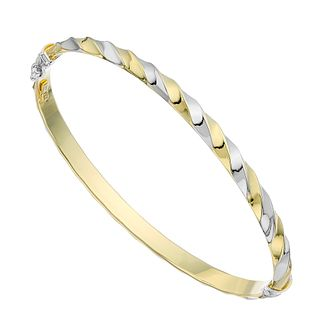 Together Silver & 9ct Yellow Gold Two Tone Twist Bangle - Product number 2968835