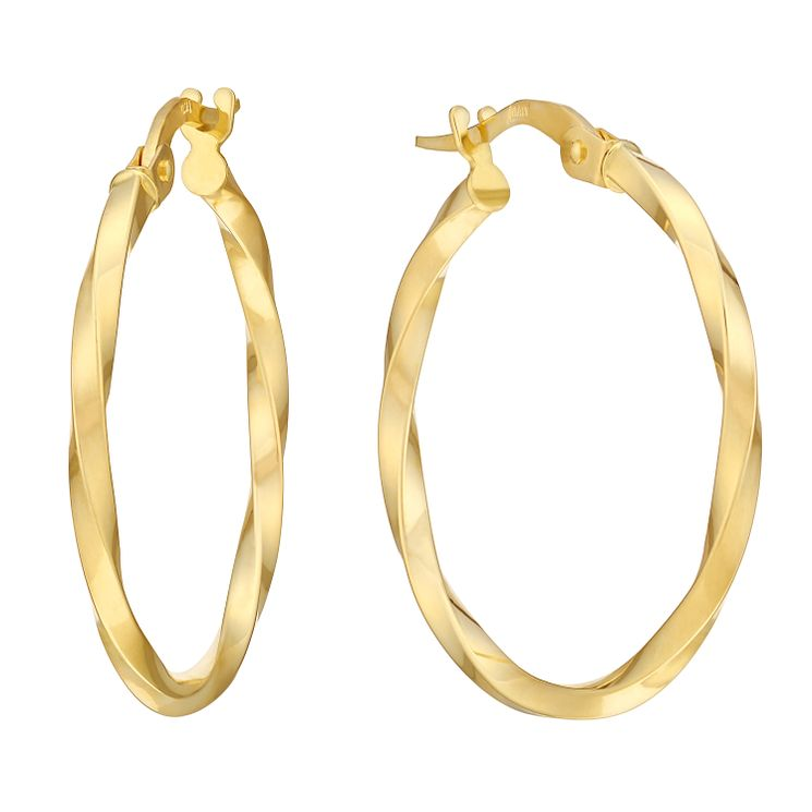9ct Yellow Gold Twist Creole Hoop Earrings - Product number 2968878