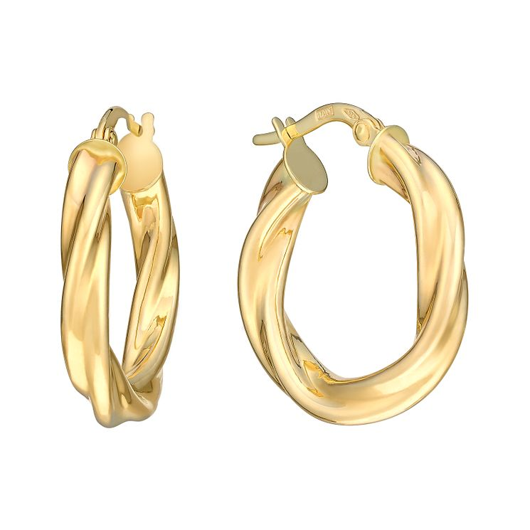 9ct Yellow Gold 15mm Twist Creole Hoop Earrings