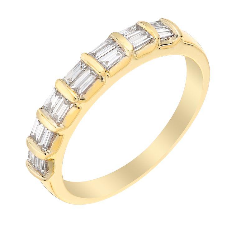 9ct Yellow Gold 1 4 Carat Baguette Diamond Eternity Ring