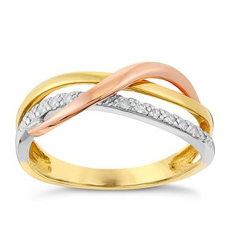 9ct Yellow, White & Rose Gold Diamond Kiss Eternity Ring - Product number 2976757