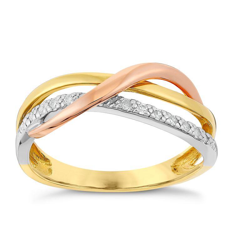 9ct Yellow White & Rose Gold Diamond Kiss Eternity Ring