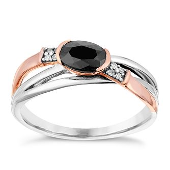 Silver & 9ct Rose Gold Sapphire & Diamond Crossover Ring - Product number 2976897