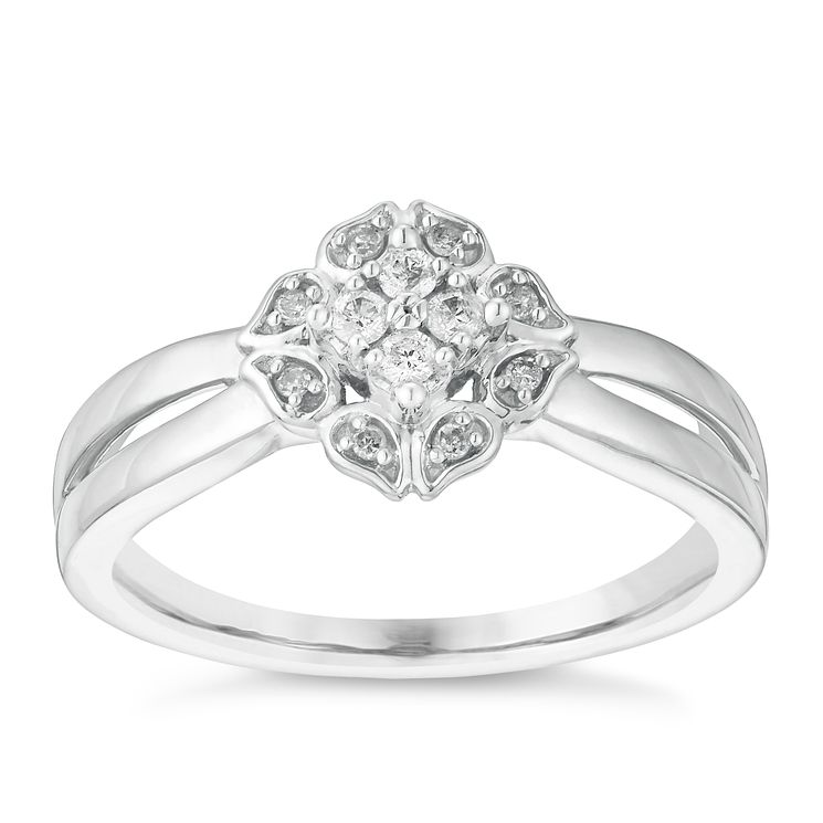 Cherished Argentium Silver & Diamond Flower Cluster Ring - Product number 2977435