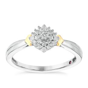 Cherished Silver & 9ct Yellow Gold Diamond Cluster Ring - Product number 2978180