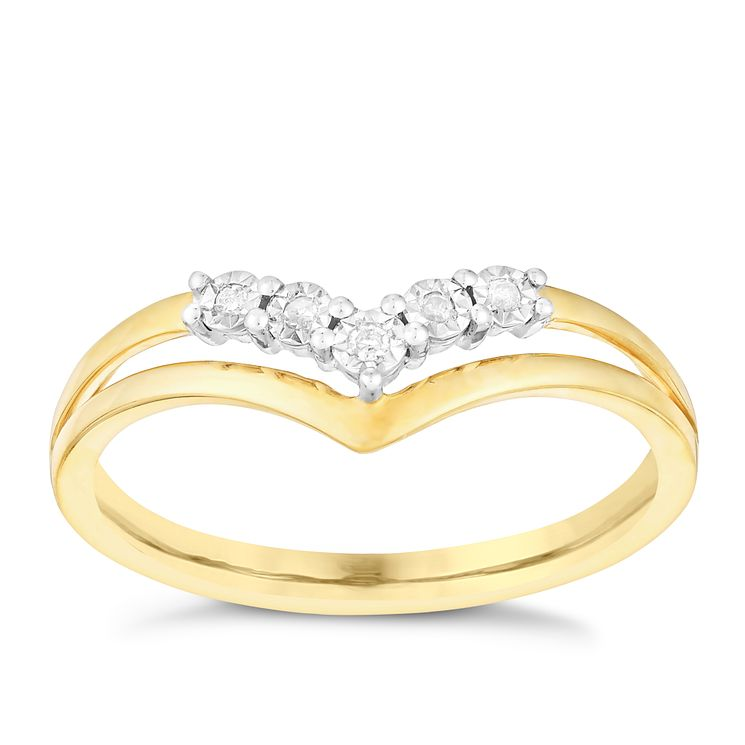 9ct Yellow Gold Wishbone V Shaped Diamond Eternity Ring - Product number 2978830
