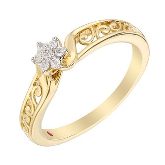 Cherished 9ct Yellow Gold Diamond Flower Cluster Ring - Product number 2979853