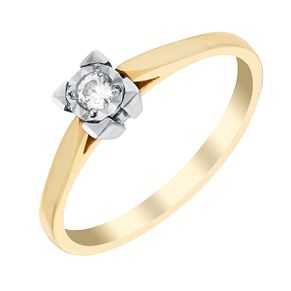 9ct Two Colour Gold Square Illusion Diamond Solitaire Ring - Product number 2981041
