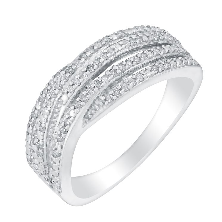 Sterling Silver & Diamond Multi-Row r Eternity Ring - Product number 2982749