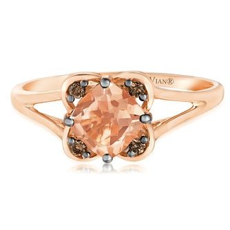 14ct Strawberry Gold Peach Morganite & Diamond Ring - Product number 2985519