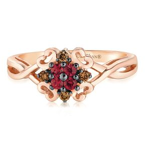 14ct Strawberry Gold Passion Ruby & Chocolate Diamond Ring - Product number 2986469