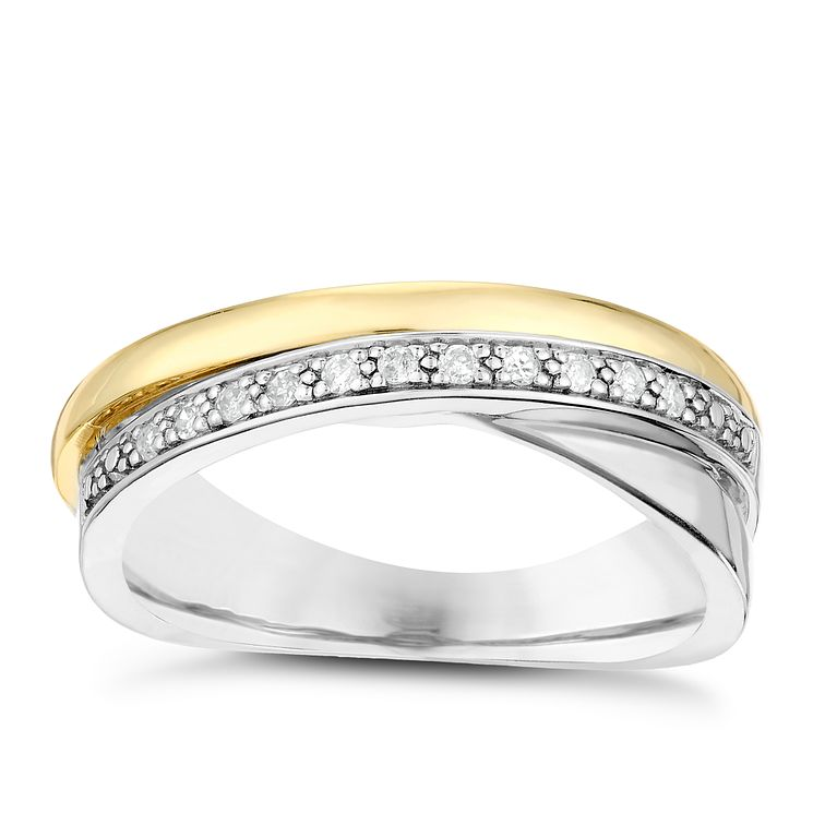 Silver & 9ct Yellow Gold Diamond Crossover Eternity Ring - Product number 2987171