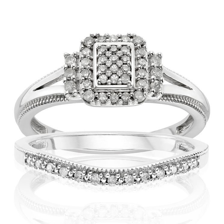 Argentium Silver 1/4ct Diamond Perfect Fit Bridal Set - Product number 2989972