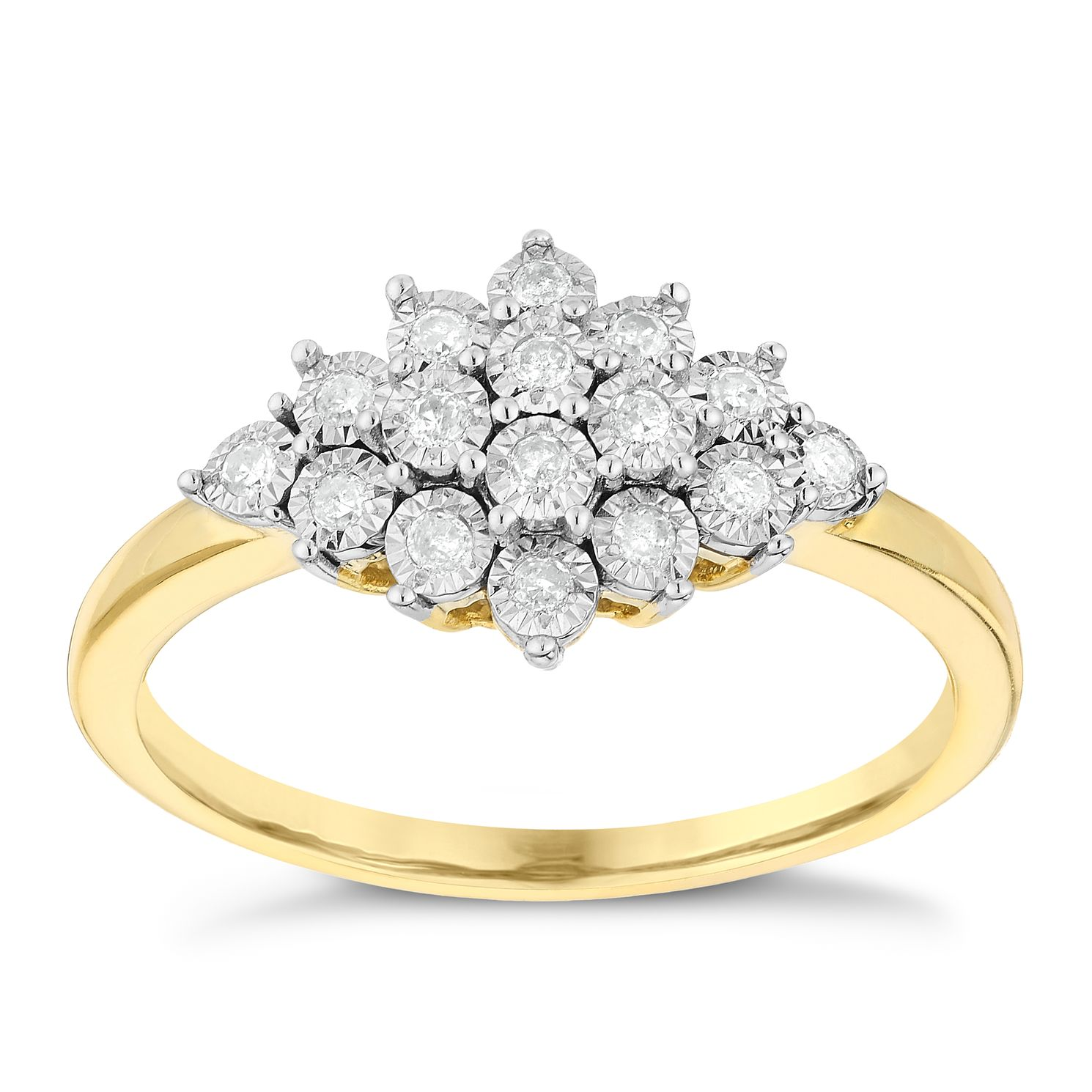 yellow gold brilliant ring stone bridal cut image rings cluster diamond