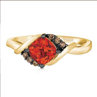 14ct Honey Gold Neon Tangerine Fire Opal & Diamond Ring - Product number 2991411