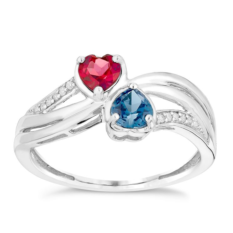 Argentium Silver Diamond Garnet & London Blue Topaz Ring - Product number 2996065